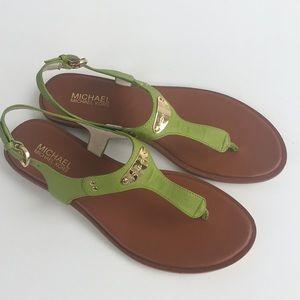 New Michael Kors Green Flat Sandals